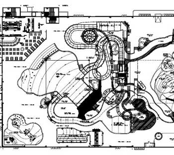 Drawing of a water park plan