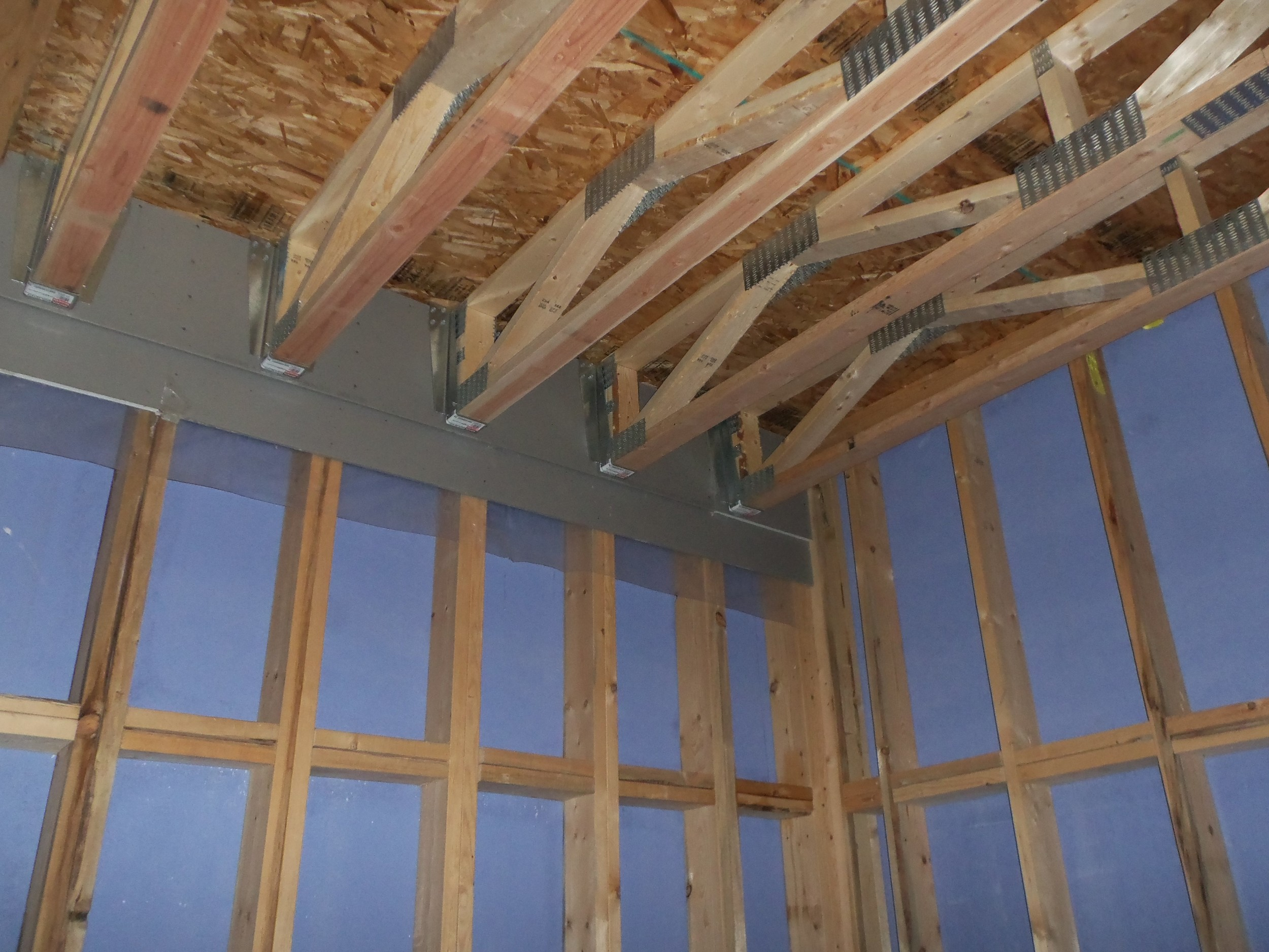 Inside construction of a five story wood construction project