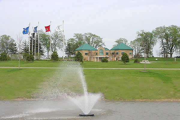 Southern Wisconsin Veterans Memorial Cemetery columbarium and pond fountain
