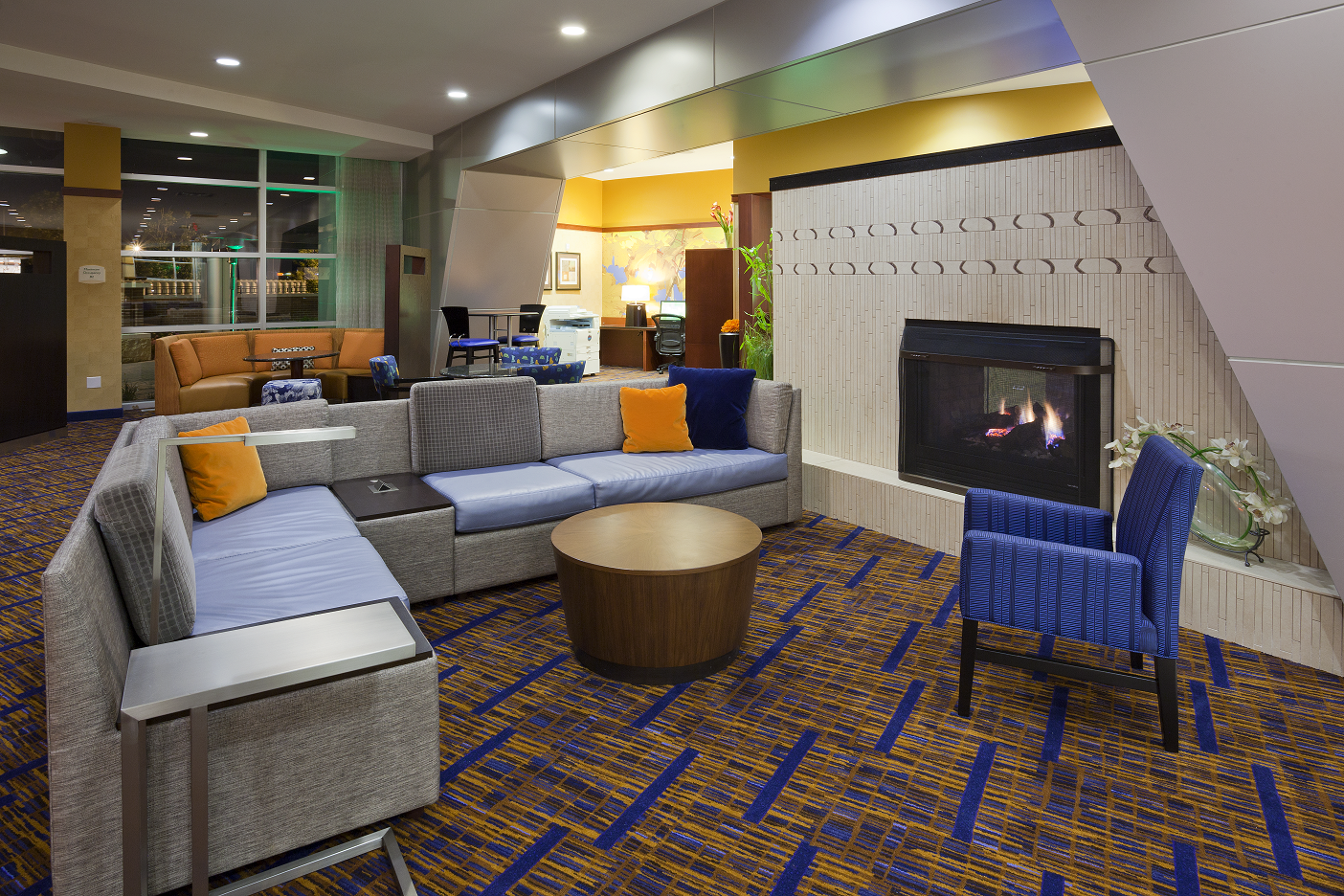 Lobby seating area in a hotel