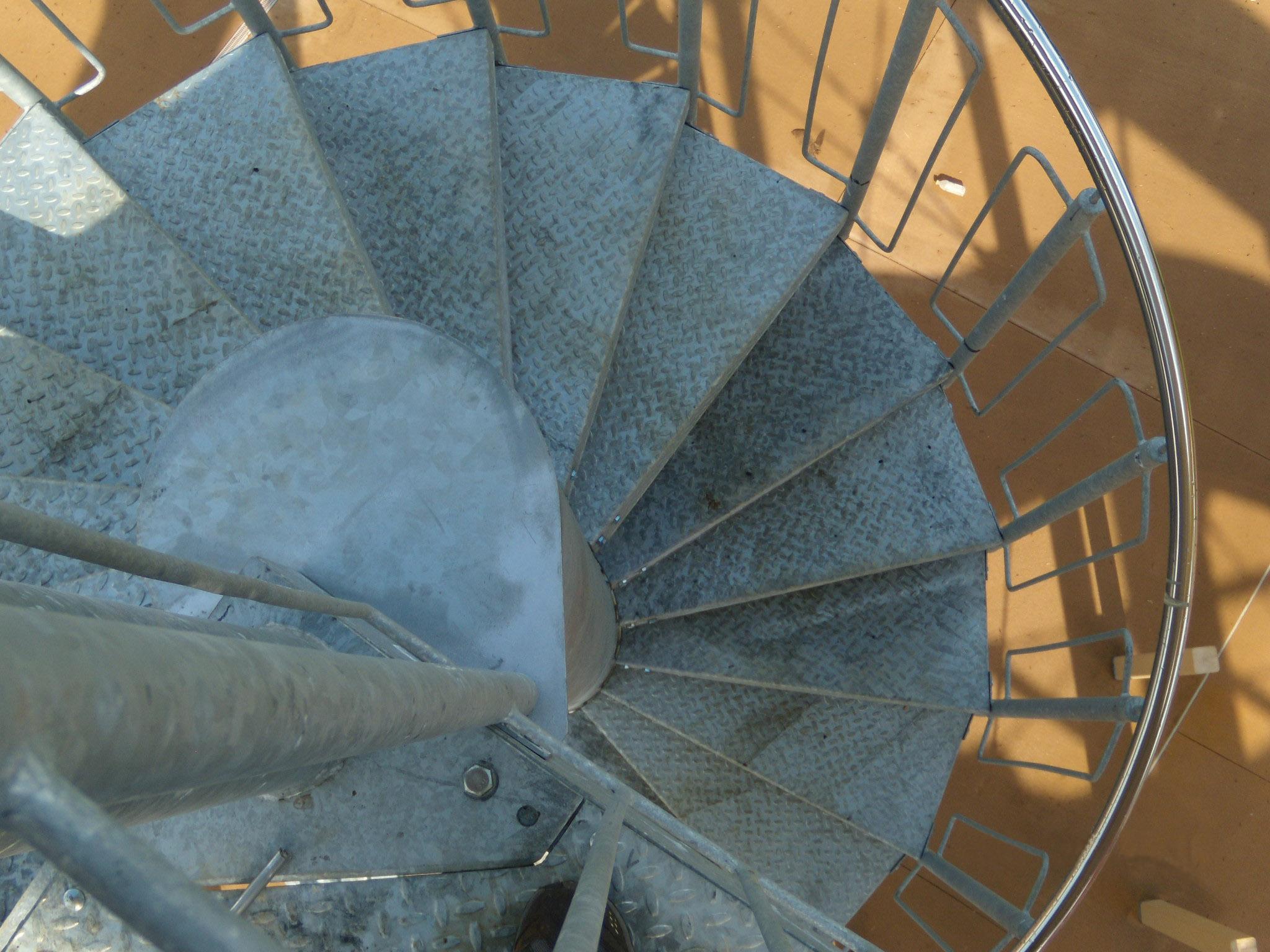 Metal spiral stair case