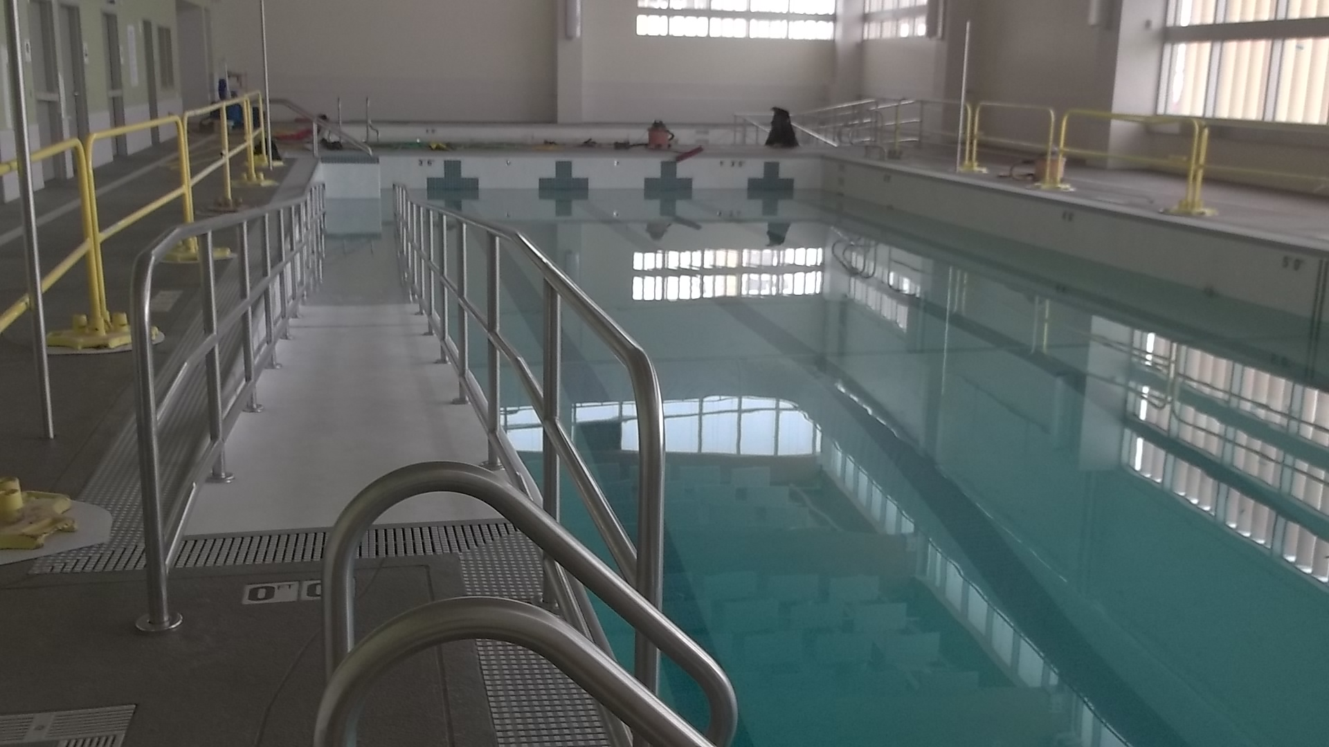 Ramp and stair area into the pool at the ADA Compliance for Pools