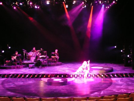 Inside stage with purple and pink lights