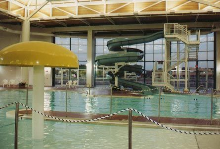 Inside of a small water park area