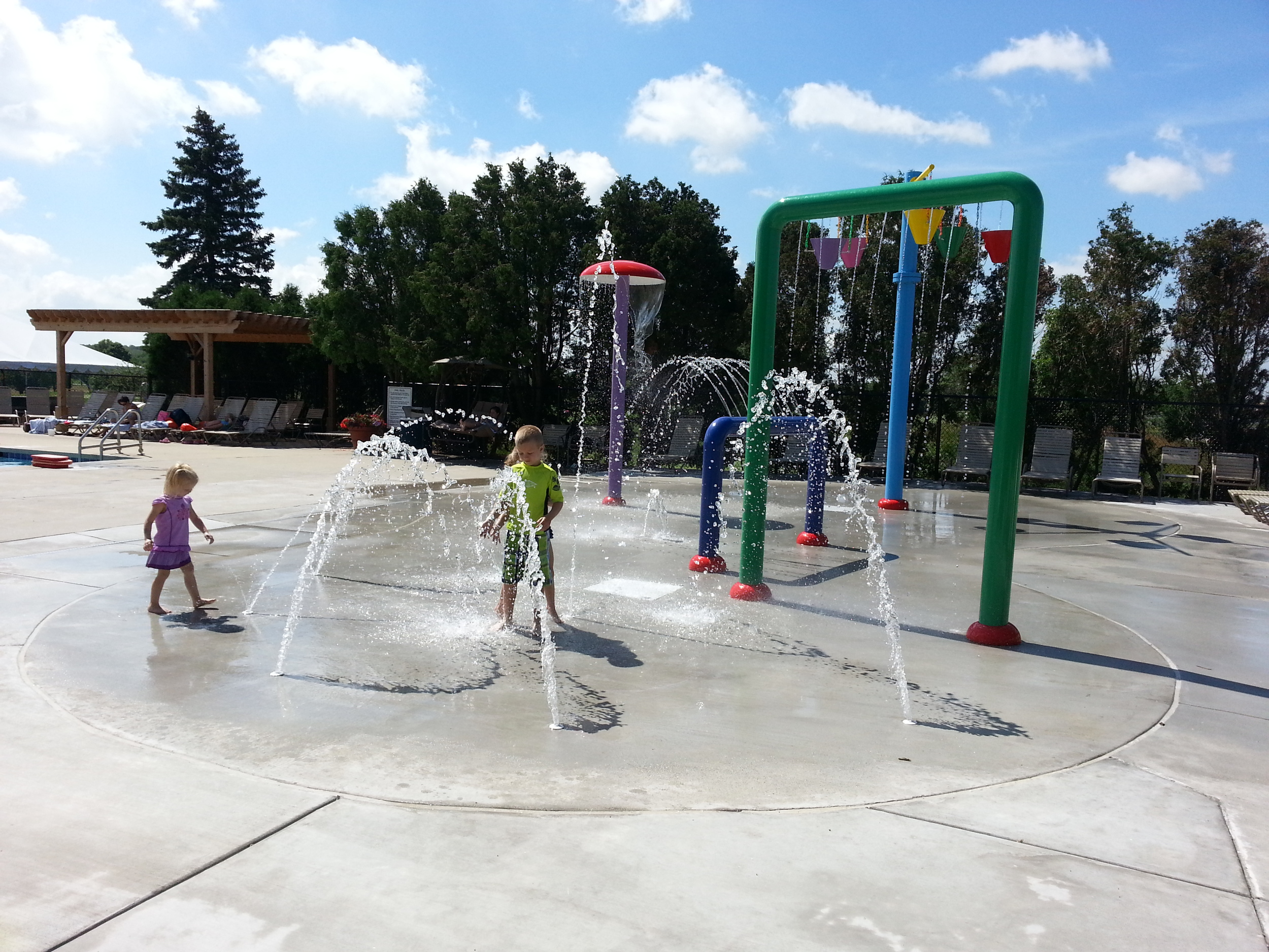 Outdoor splash pad area at Westmoor Country Club in Brookfield, WI
