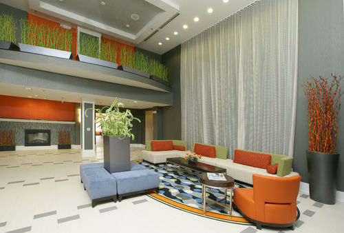 Lobby and seating area in a hotel