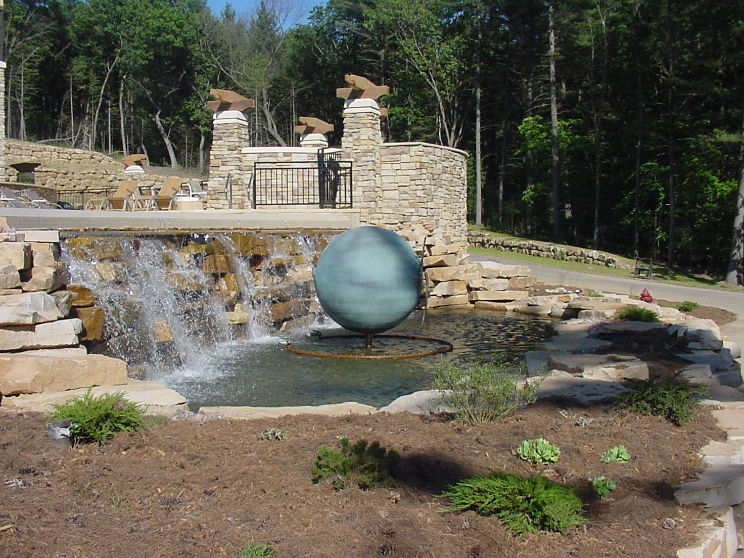 Outside view a fountain area at Sundara Spa in Wisconsin Dells, WI