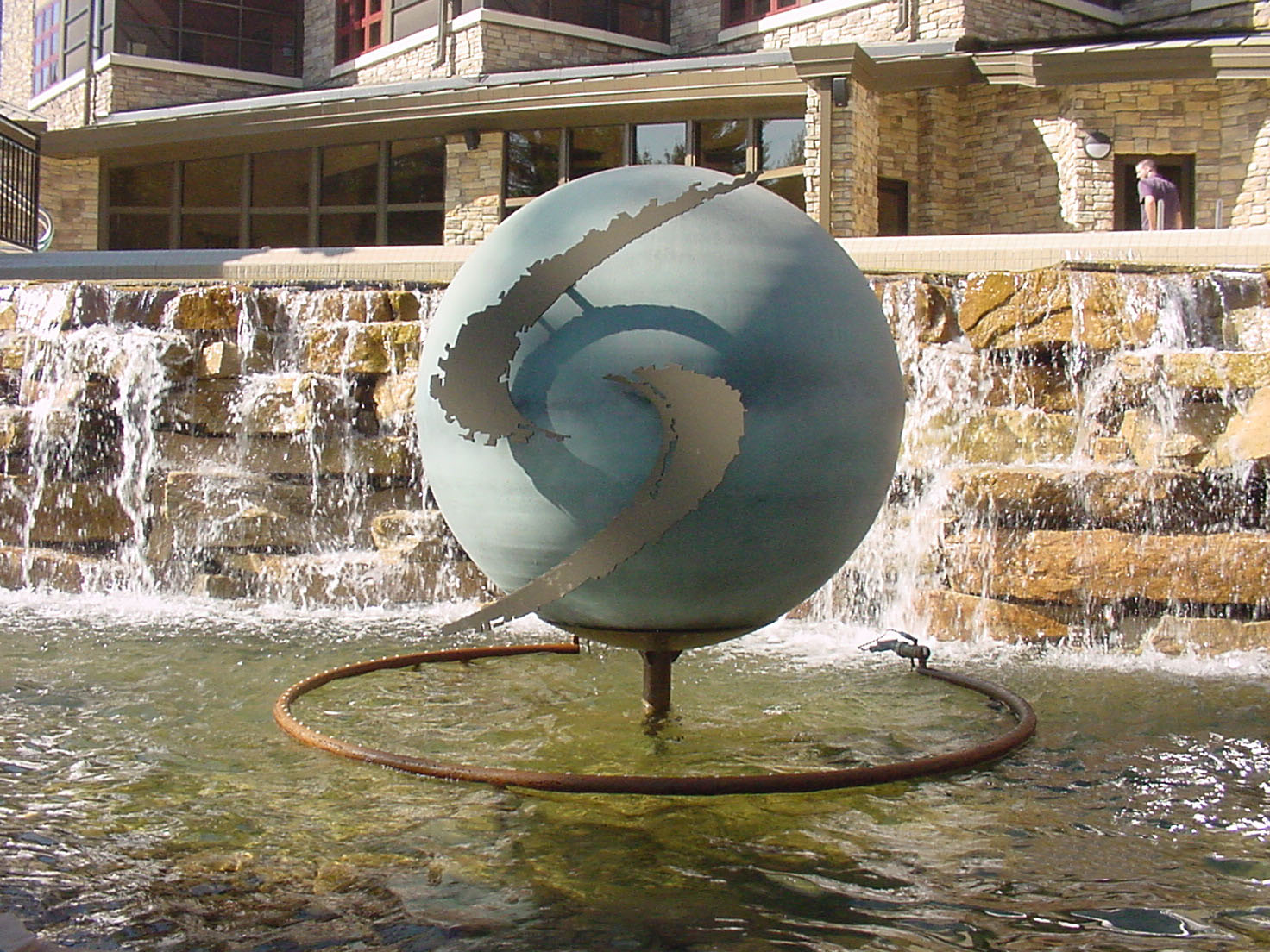 Spherical statue in fountain area at Sundara Spa in Wisconsin Dells, WI