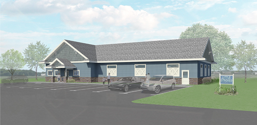 Rendering of the outside building of Little Strokes Swim Academy in Waunakee, WI