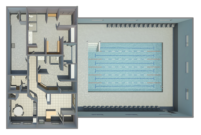 Area view of the drawn plan of the pool and office area at Little Strokes Swim Academy in Waunakee, WI
