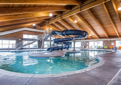 Pool with water slide at the Comfort Suites in Coralville, IA