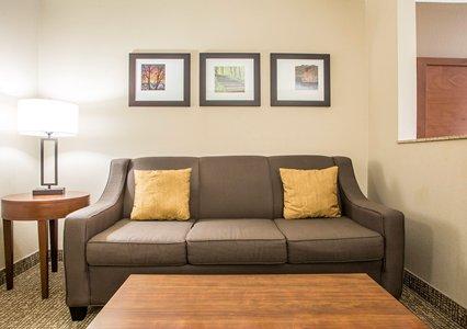 Living room area in bedroom in Comfort Suites in Coralville, IA