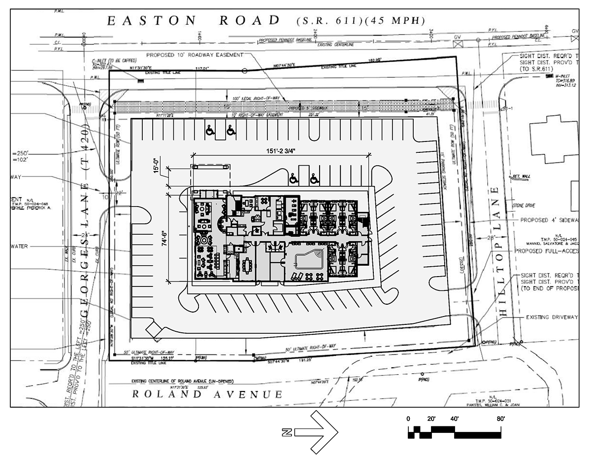 Drawing of aerial view, including the parking lot, of hotel