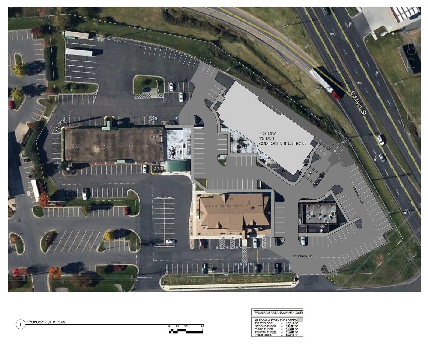 Aerial view, including the parking lot, of hotel