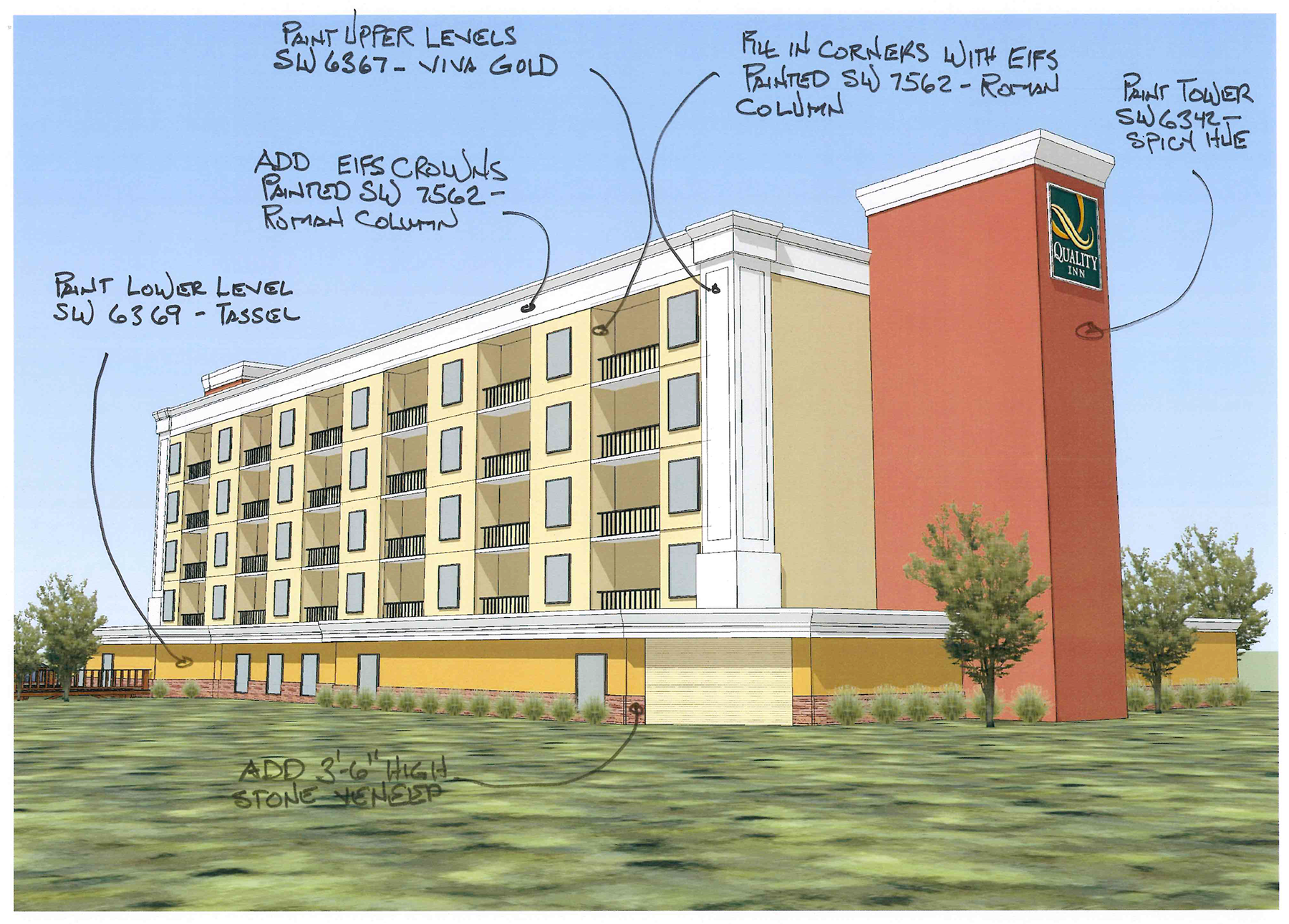 Drawing of the side of a hotel
