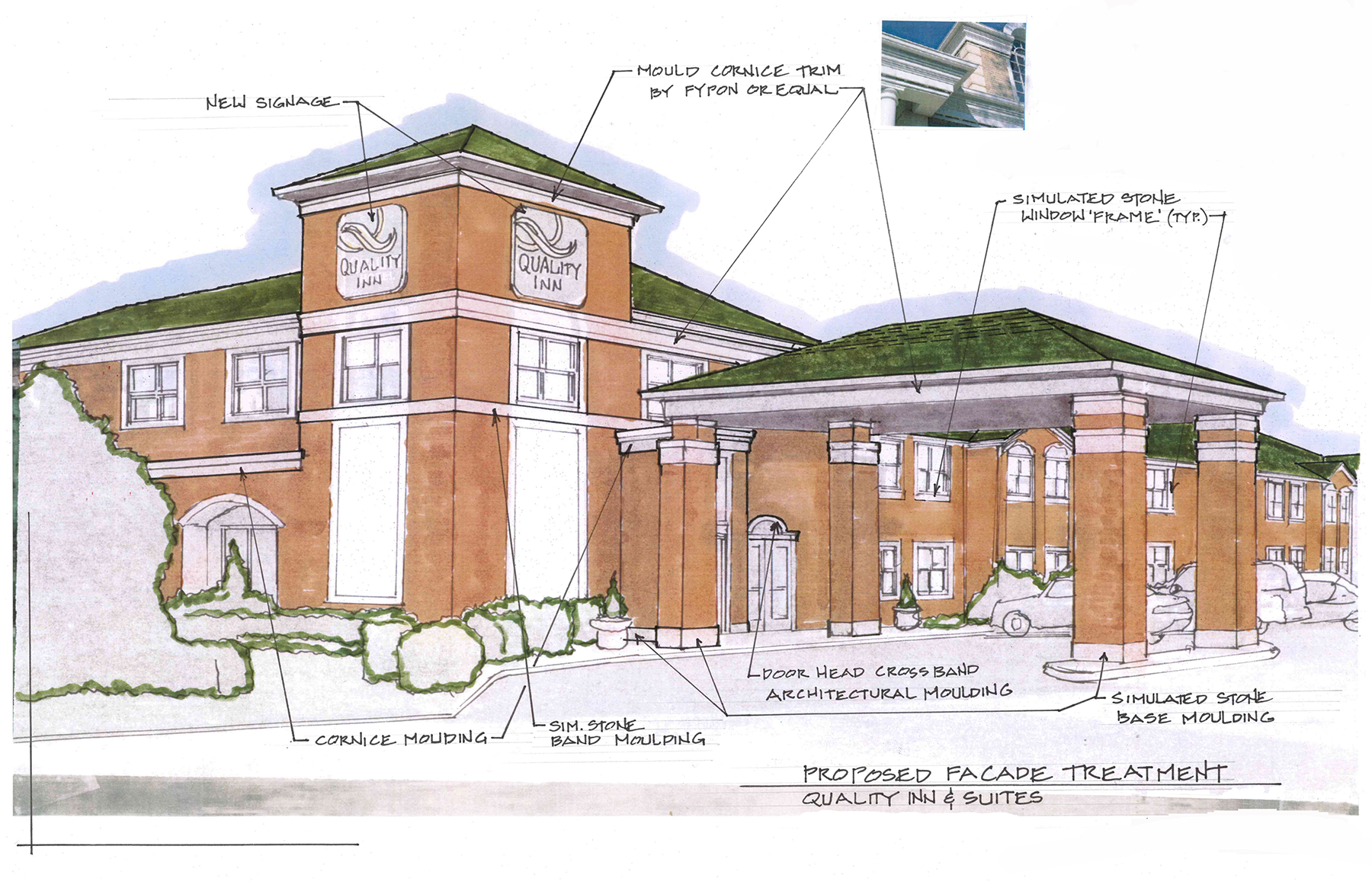 Drawing of the front of a hotel