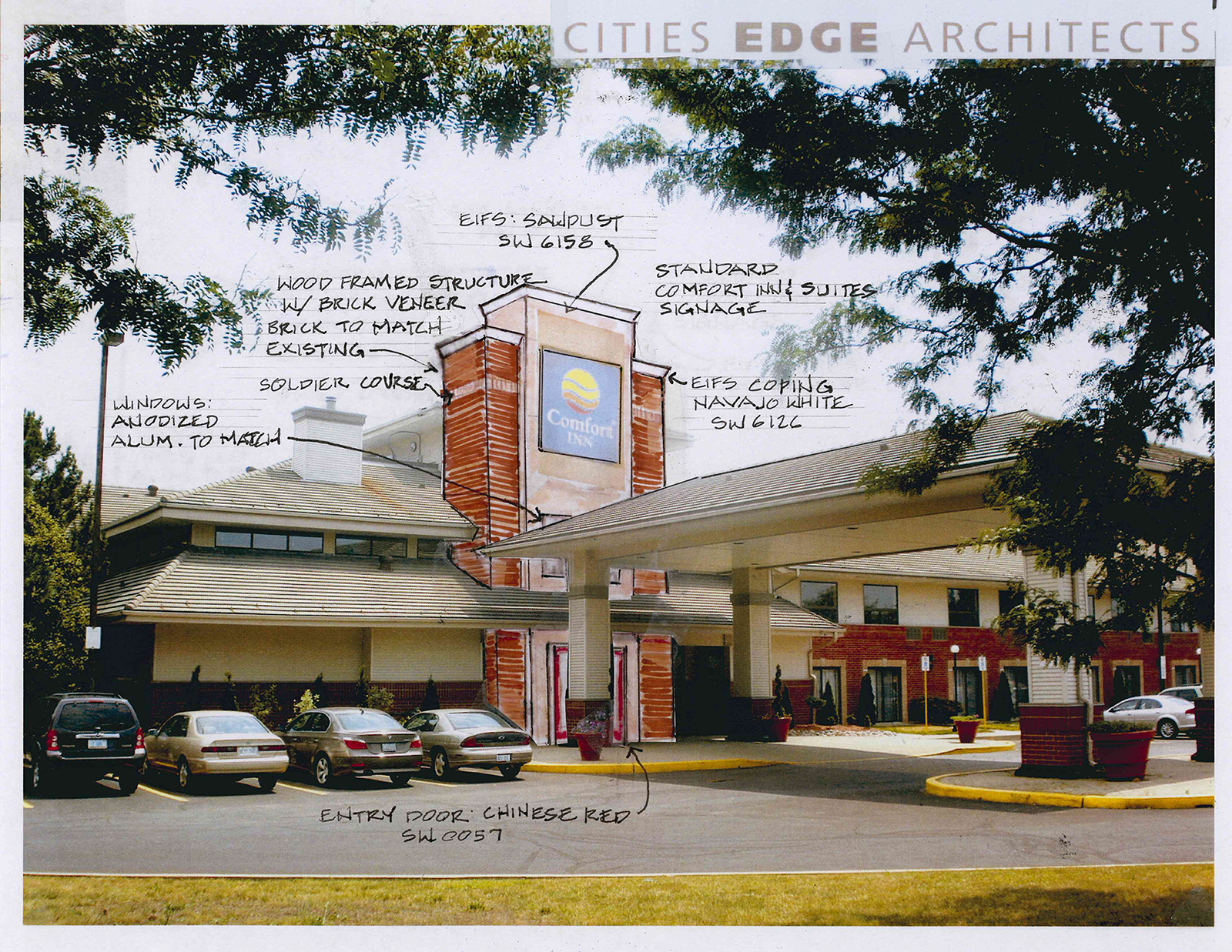 Drawings of the front of hotel