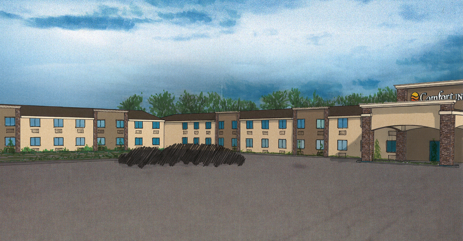 Drawing of a front of a hotel
