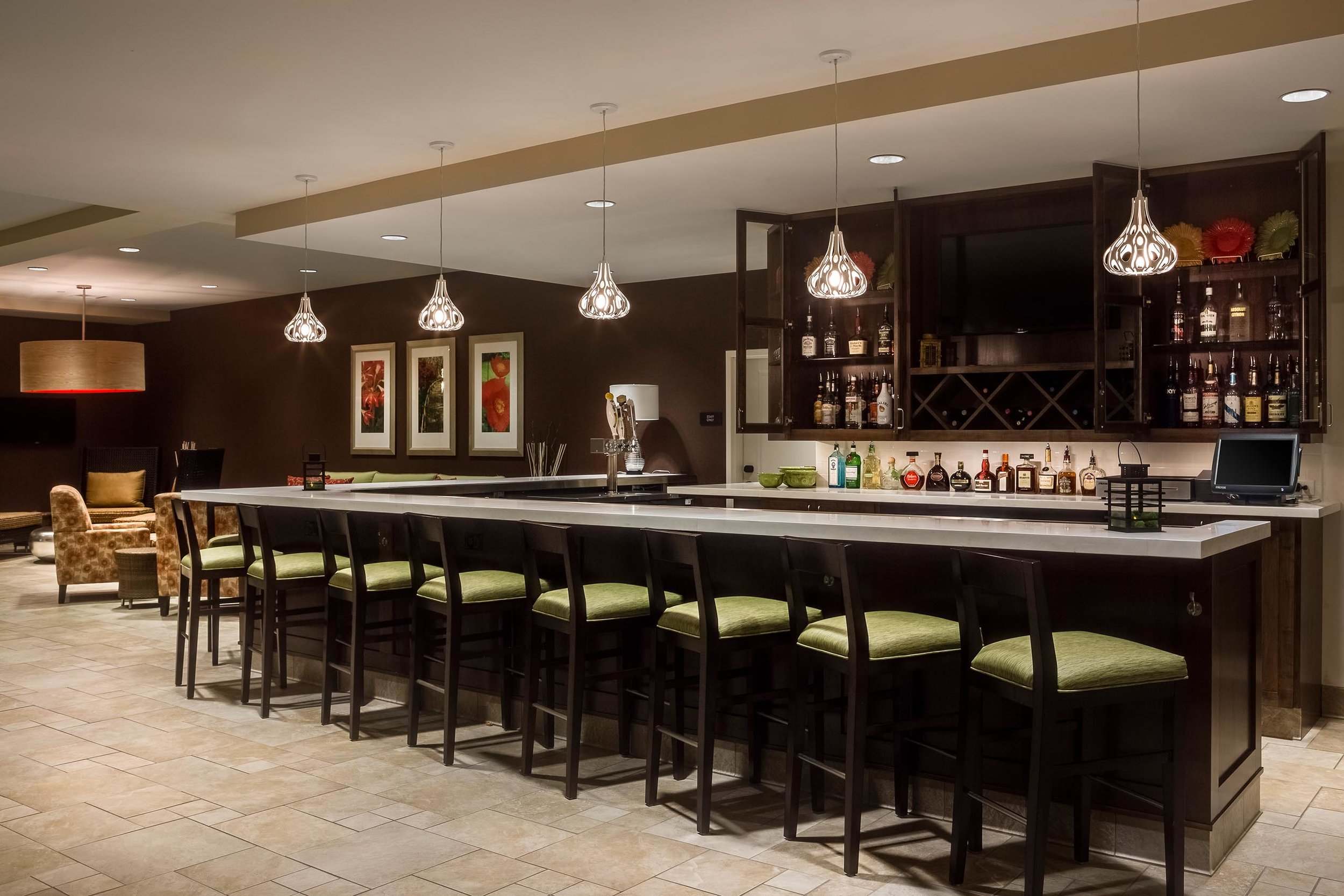 Bar area in Hilton Garden Inn in Bettendorf, IA