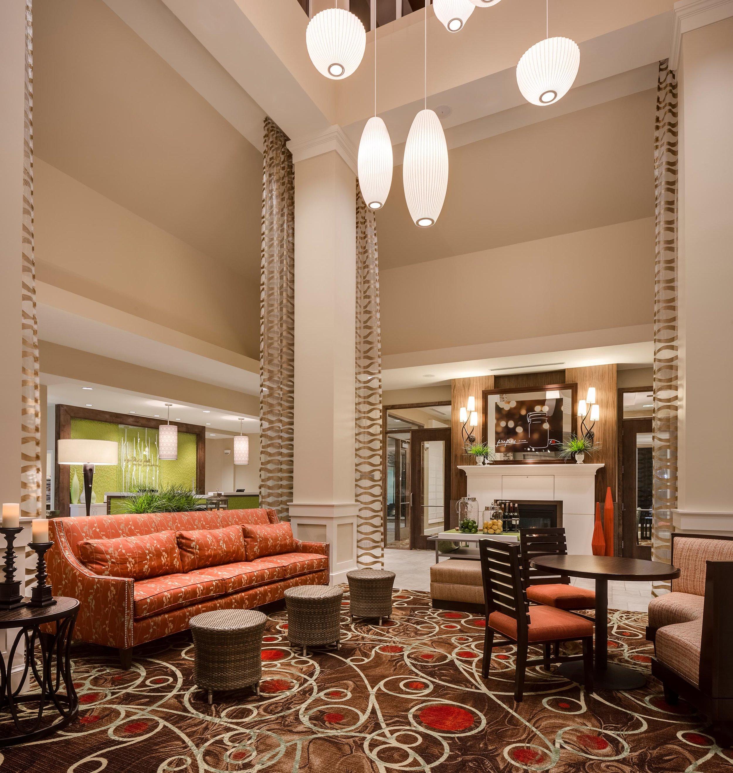 Lobby seating area at the Hilton Garden Inn in Bettendorf, IA