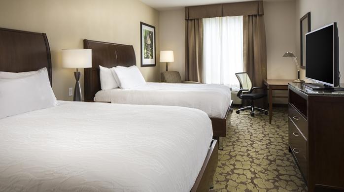 Bedroom at the Hilton Garden Inn in Bettendorf, IA