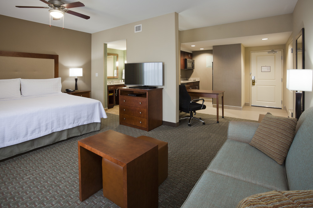 Bedroom in the Homewood Suites in Rochester, MN