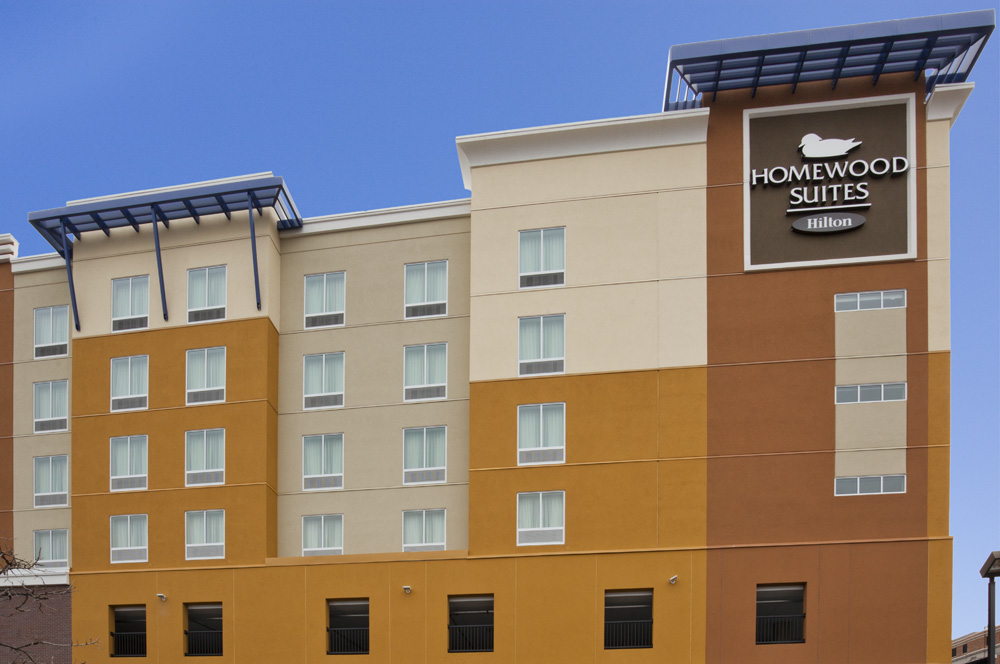 Outside view of the backside of the Homewood Suites in Rochester, MN