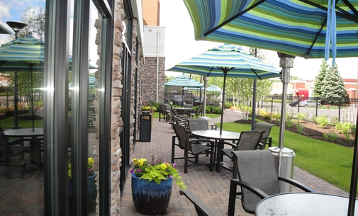 Outside seating area in the Homewood Suites in St. Louis Park, MN