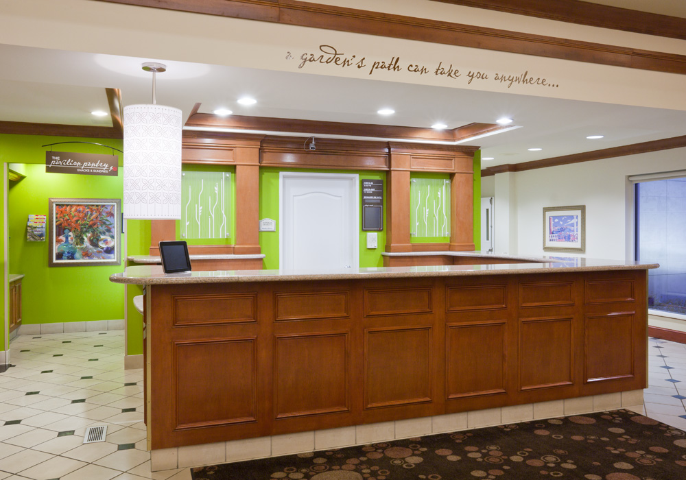 Front desk in the Hilton Garden Inn in Bloomington, MN