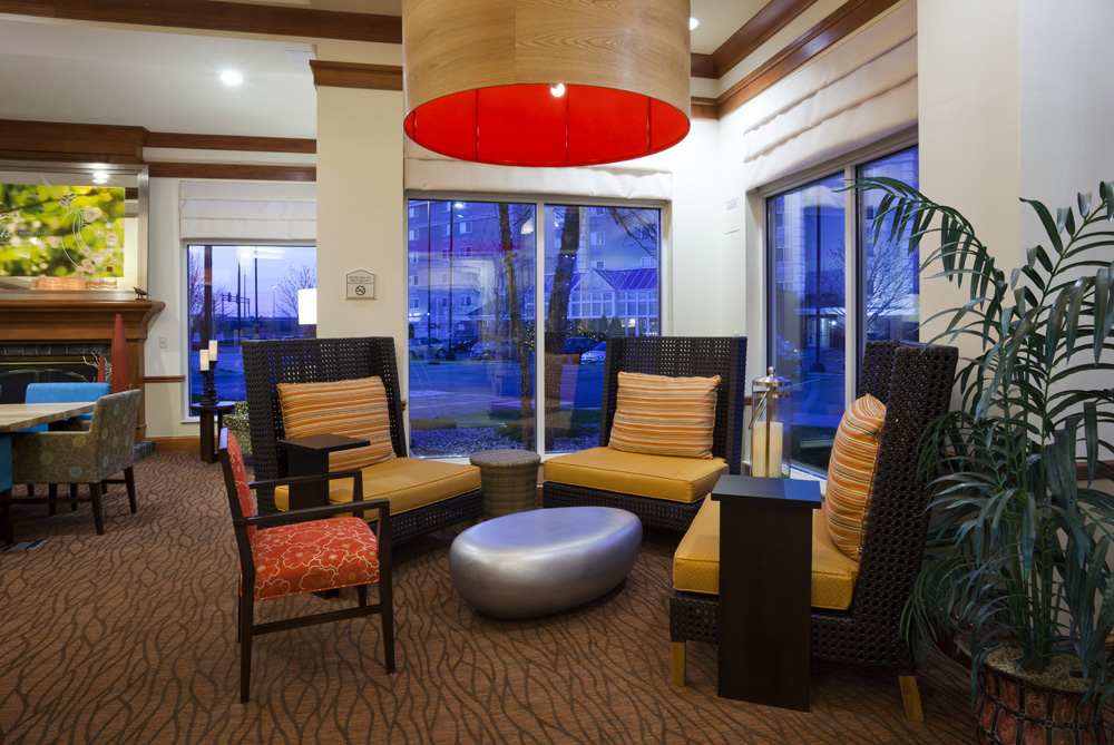 Seating area in the lobby of the Hilton Garden Inn in Bloomington, MN