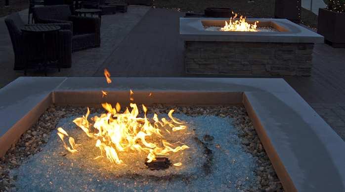 Outside fireplace area in the the Hilton Garden Inn in Cedar Falls , IA