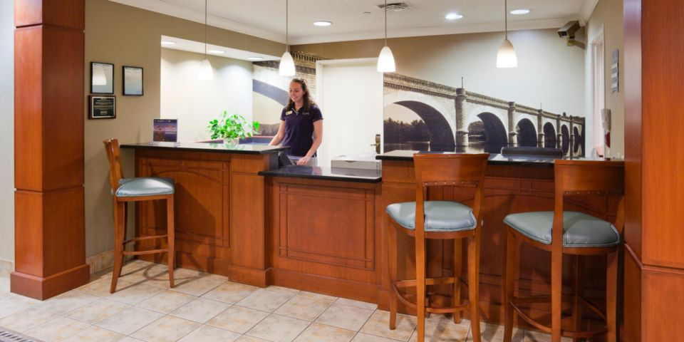 Front desk area at the Staybridge Suites in Bloomington, MN