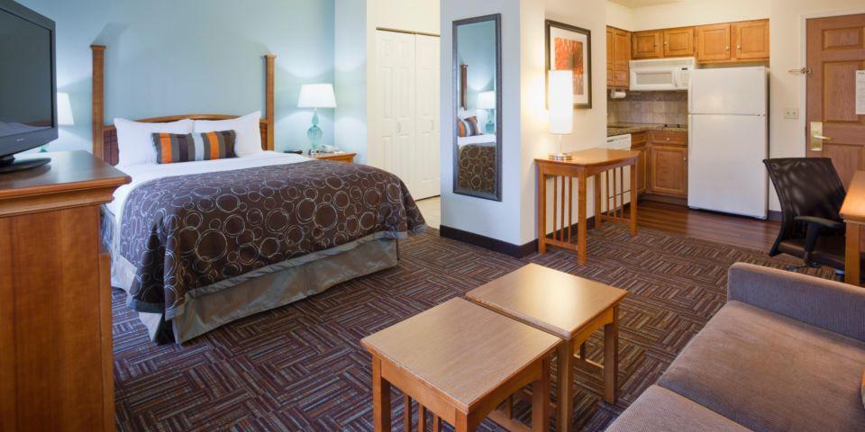 Bedroom at the Staybridge Suites in Bloomington, MN