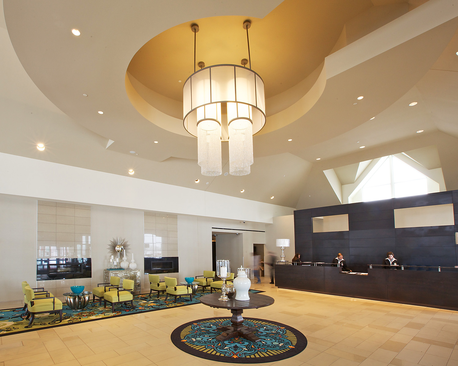 Seating and lobby area in the Prairie Meadows Resort and Casino in Altoona, IA