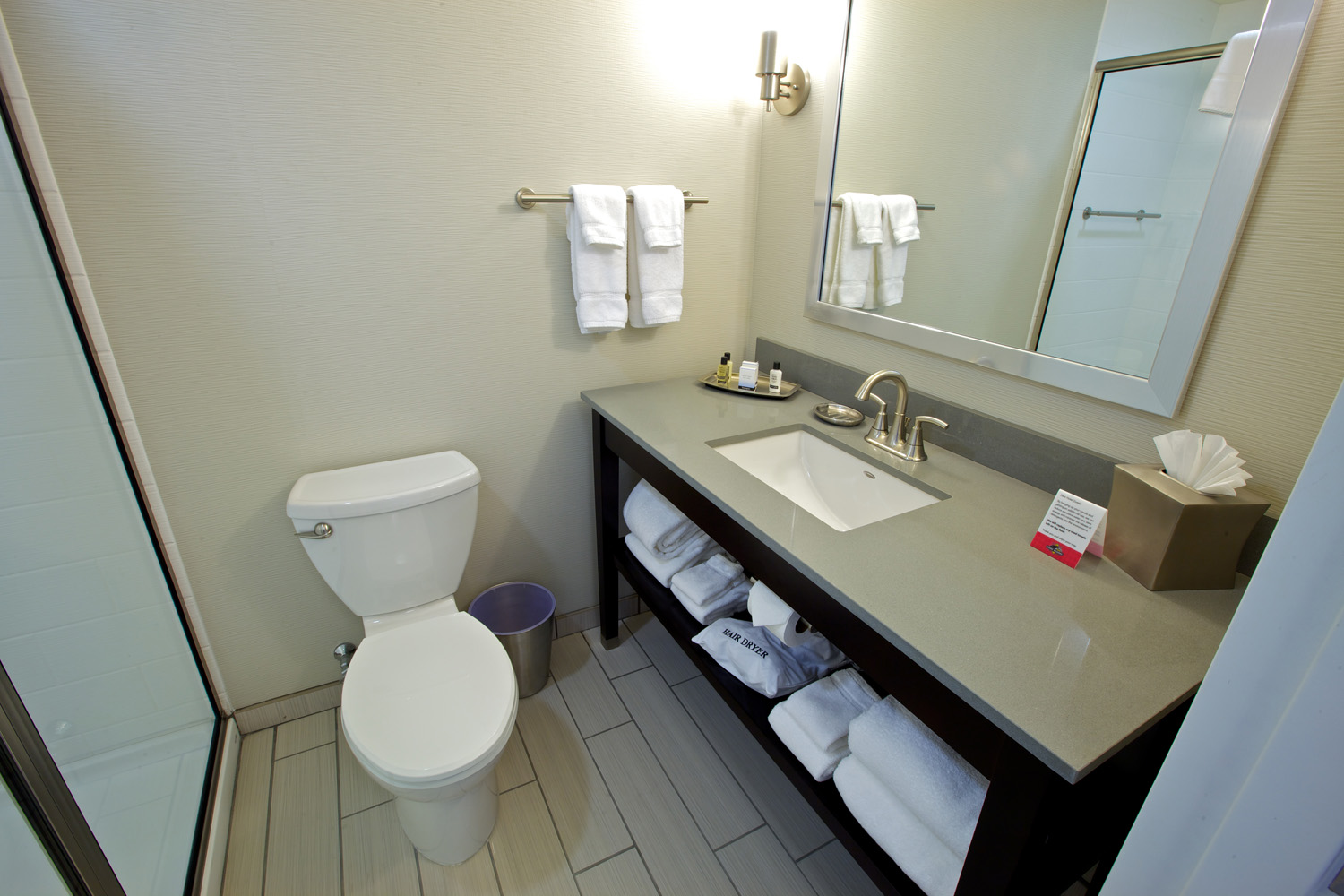 Bathroom in the guest rooms in the Prairie Meadows Resort and Casino in Altoona, IA