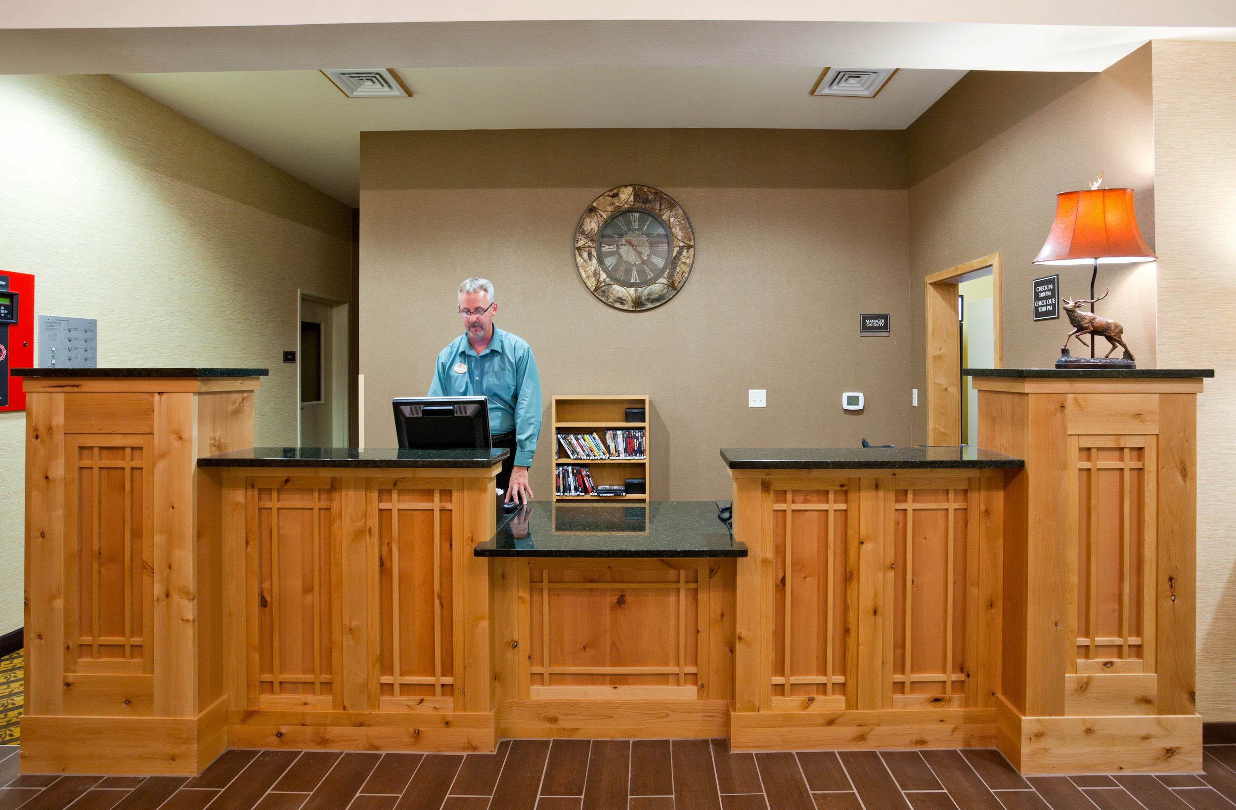 Front desk at the the Souris Valley Suites in Minot, ND