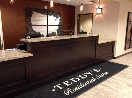 Front desk area in the Teddy's Residential Suites in Watford City, ND