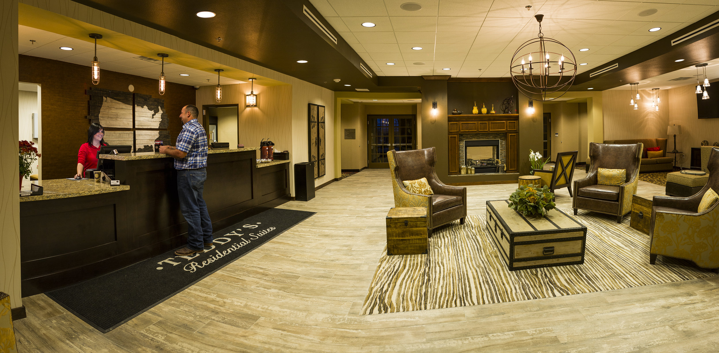 Lobby and front desk area in the Teddy's Residential Suites in Watford City, ND