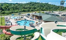 Outside pool and slides at the Three Bears Resort in Warren, WI