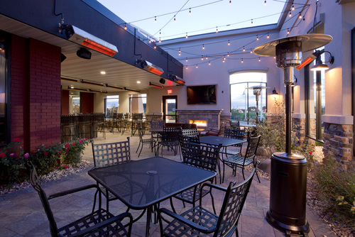 Outdoor seating area at Ruff's Wings & Sports Bar in Willmar, MN