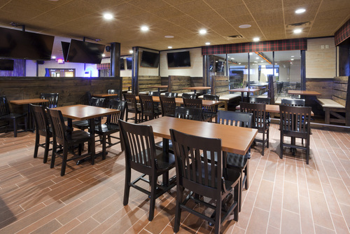 Inside seating area at Ruff's Wings & Sports Bar in Willmar, MN