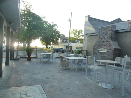 Outside seating area at O'Neil's in Spicer, MN