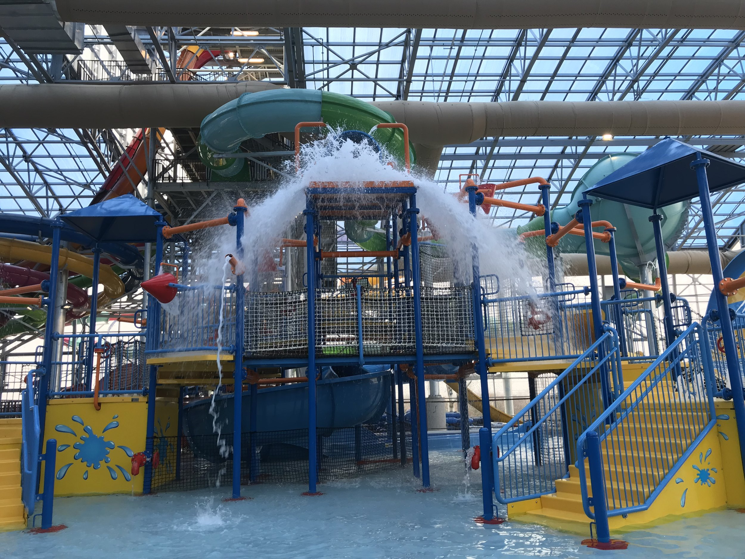 Giant water bucket falling at EPIC Waters