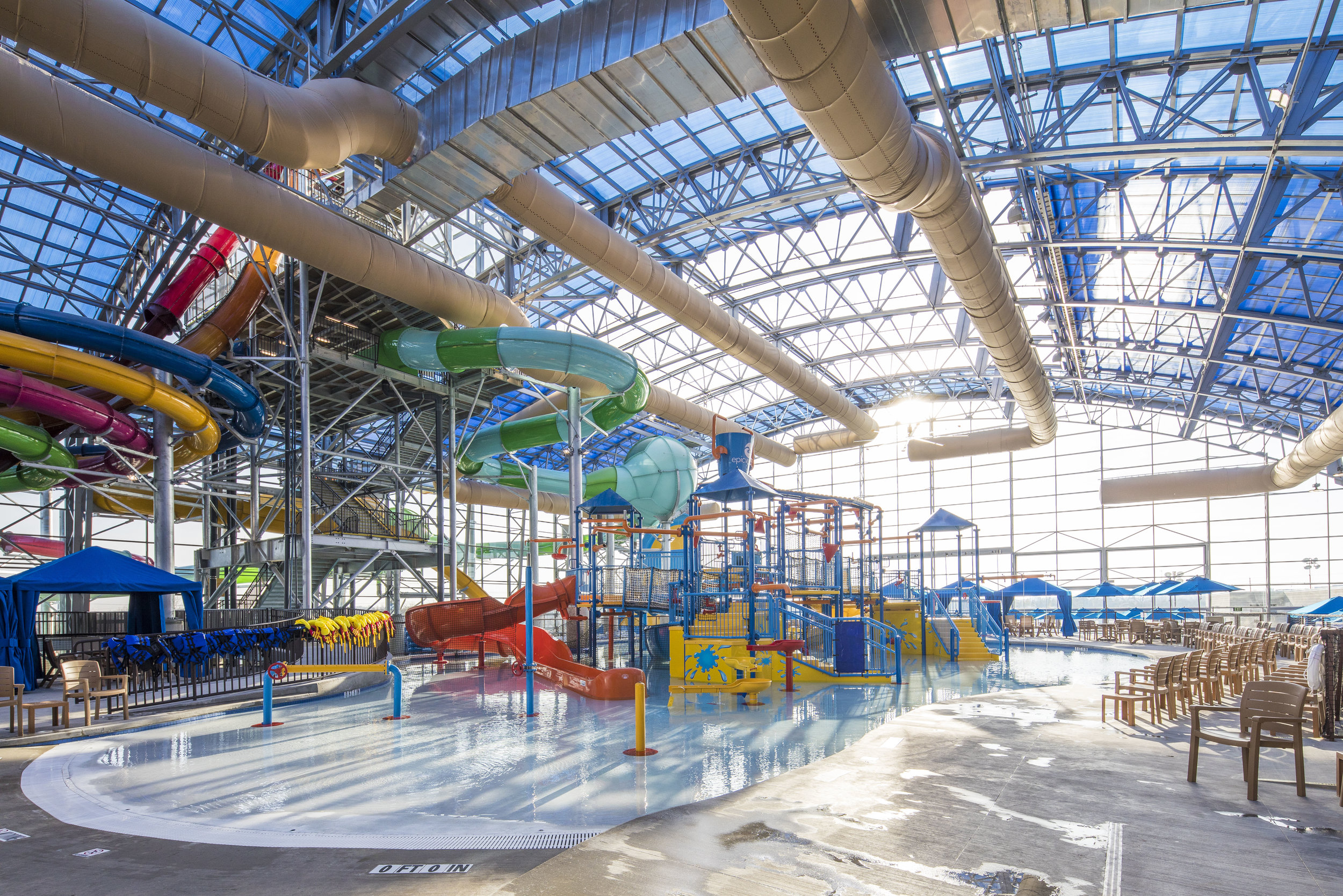interior view of slides at Epic Waters