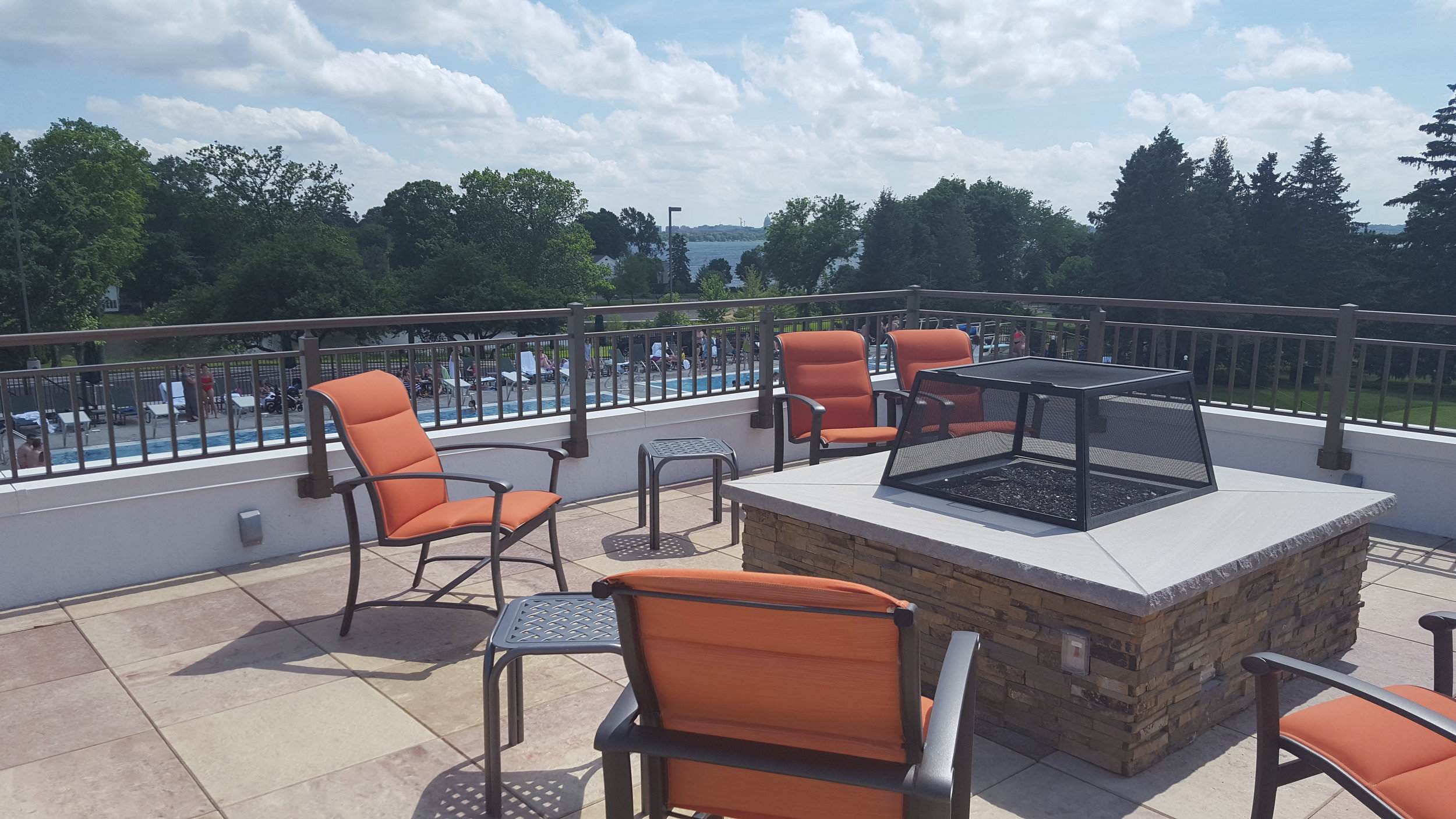 Roof top seating area at Maple Bluff Country Club in Madison, WI