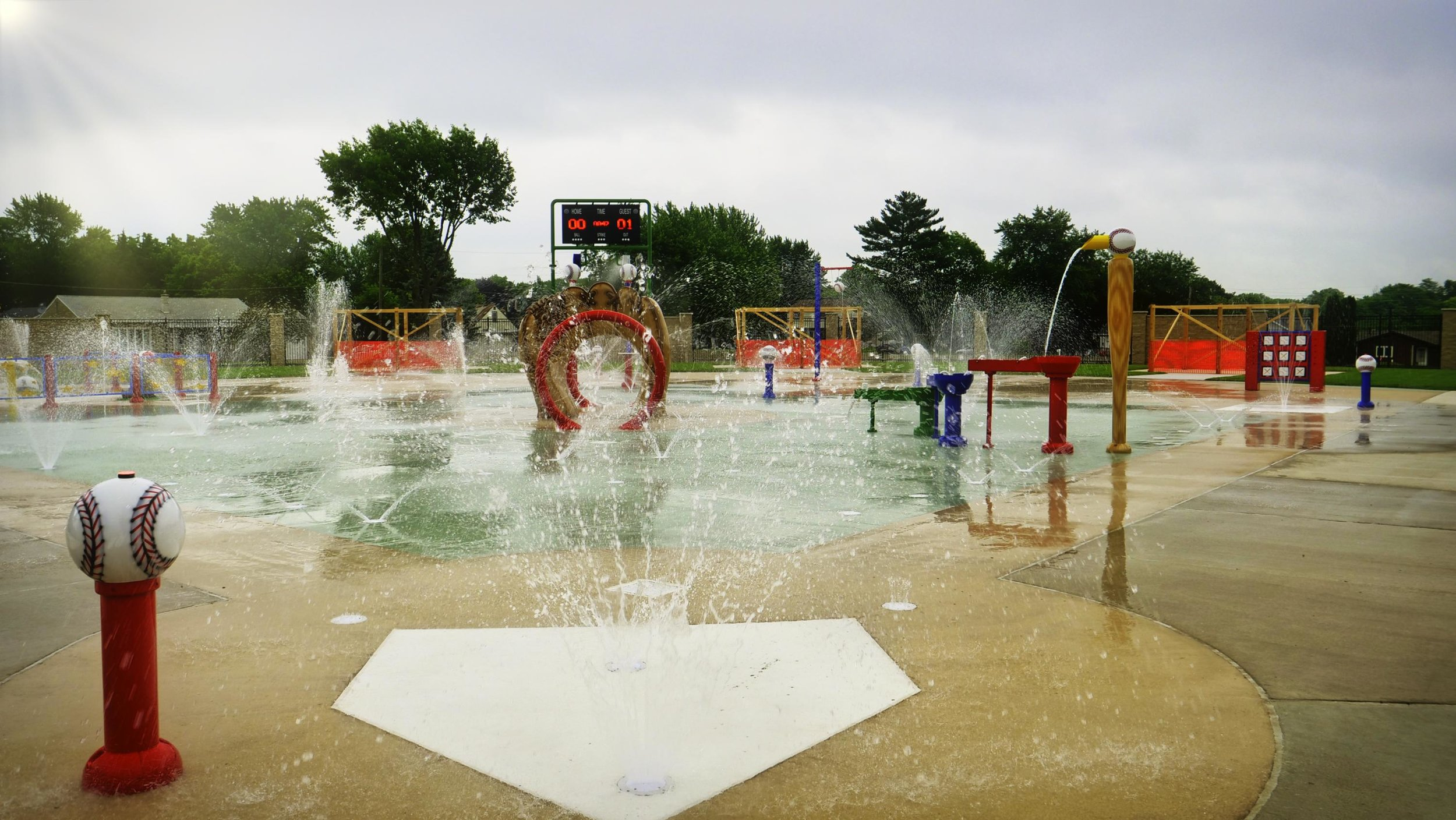 Kids play area with a baseball theme at Peru's Splash Field in IL