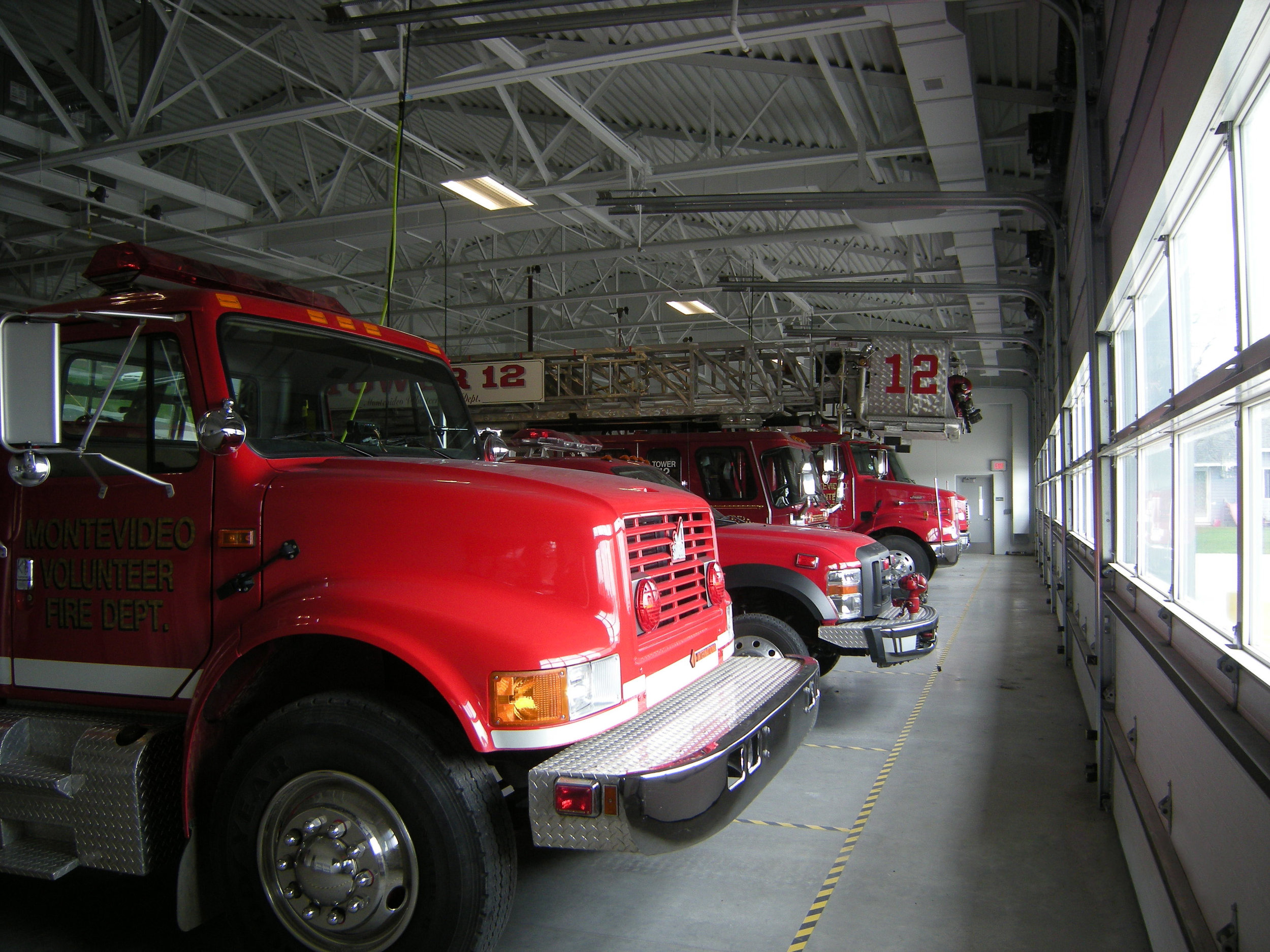 Front of firetrucks in the garage