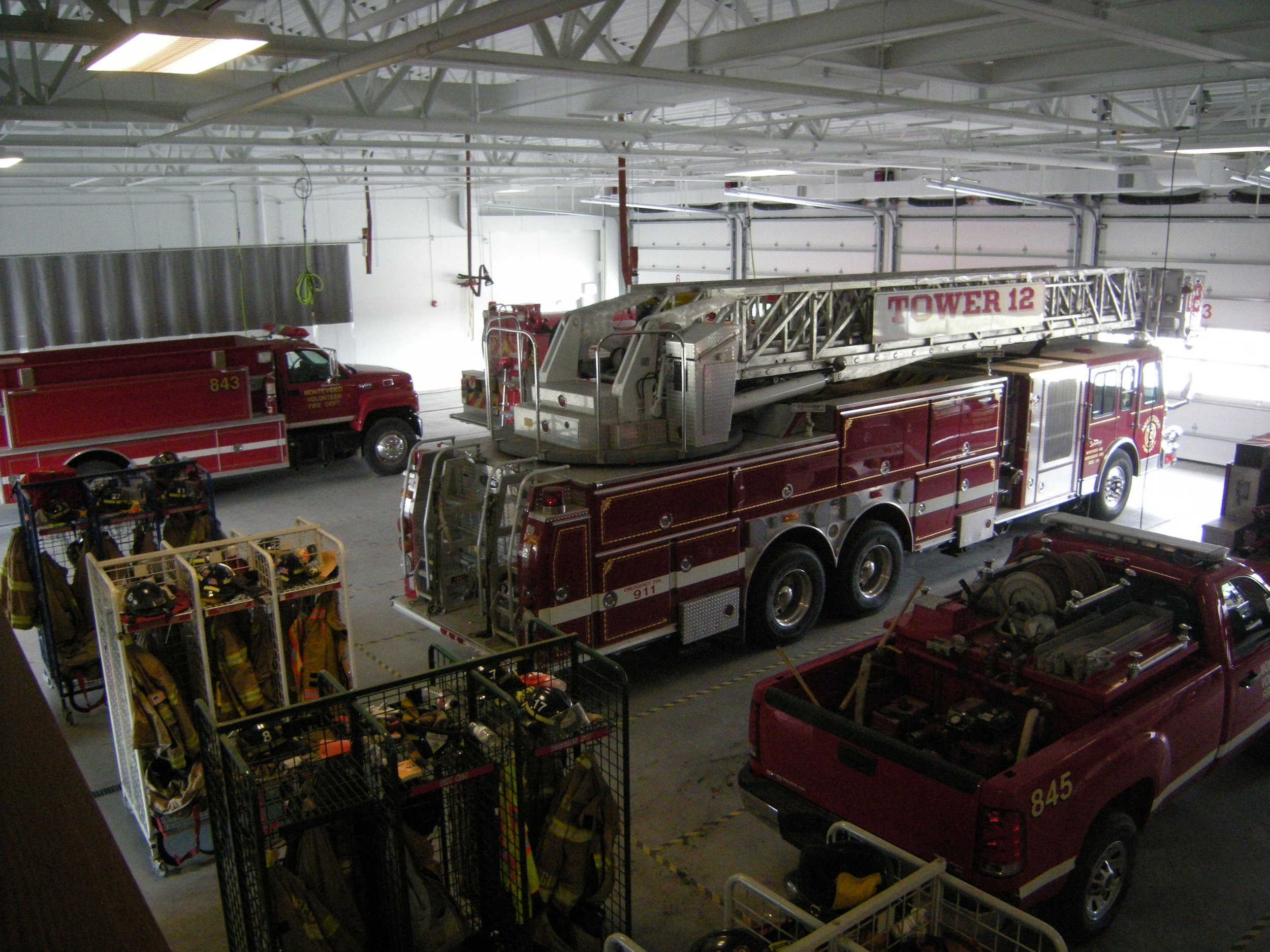 Back side of firetrucks in the garage