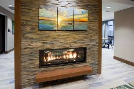 Wall fireplace in the Hampton Inn Hometown in Spicer, MN