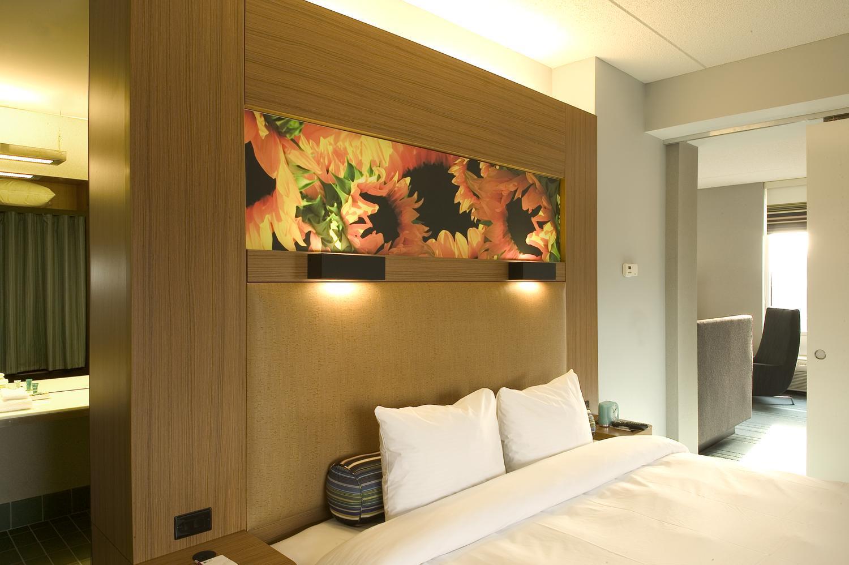 Bedroom in the Aloft Hotel in Minneapolis, MN